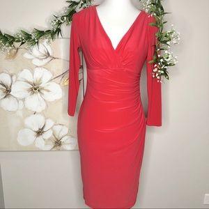 Lauren Ralph Lauren   Wrap Pink Coral Midi Dress